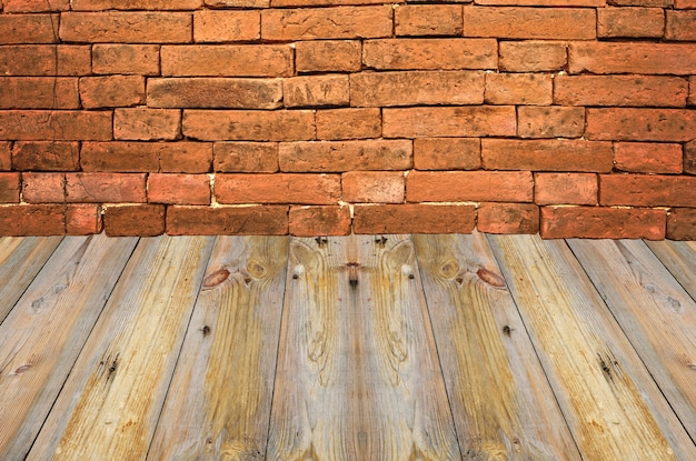 Old interior with brick wall, vintage background