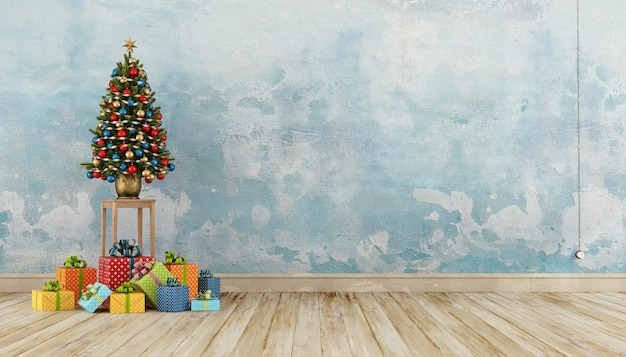 Old interior with colorful present and christmas tree. 3d rendering