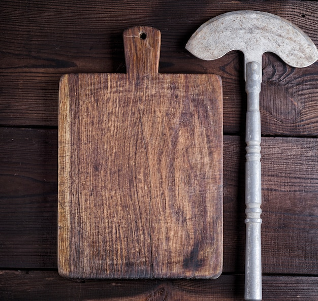 Old iron hatchet for cutting meat or vegetables