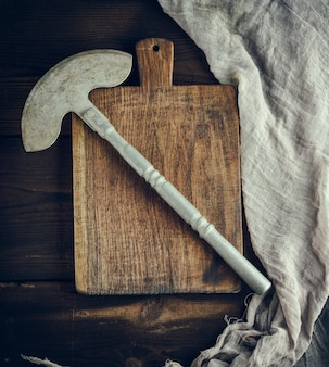 Old iron hatchet for cutting meat