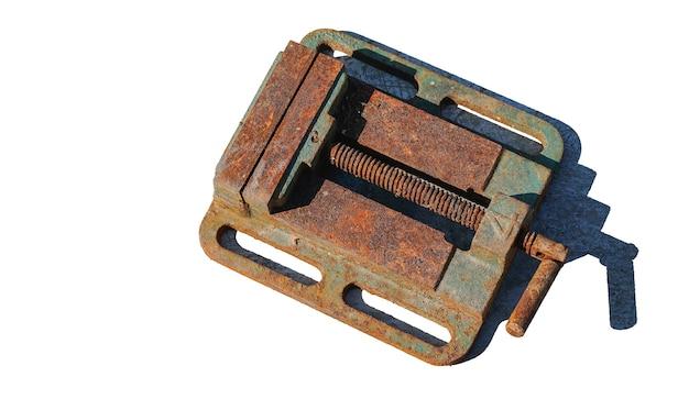Old iron vise on white background