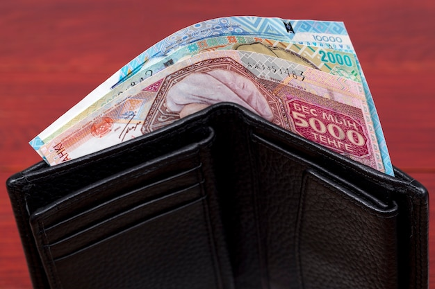 Old kazakhstani money  tenge in the wallet