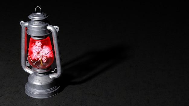 Старая керосиновая лампа с горящим деревом внутри на черном фоне, 3d иллюстрация