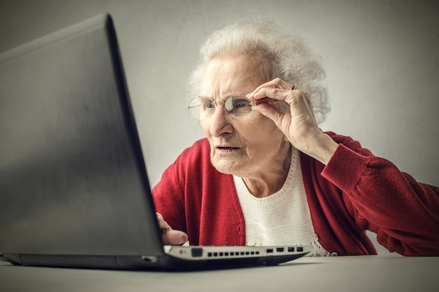 Old lady with laptop