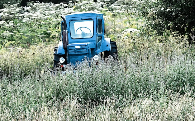 Old left blue tractor on the tall grass field