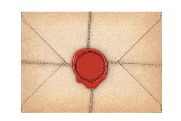 白い背景の上の赤いワックスシールと古い手紙の封筒。 3dレンダリング