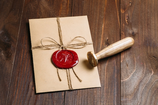 Old letter envelope with wax seal