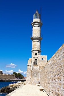 The old light tower in chania on crete