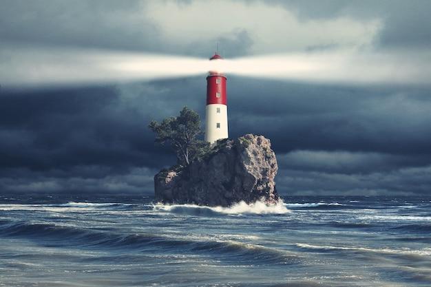 海の空気を通る古い灯台サーチライトビーム。