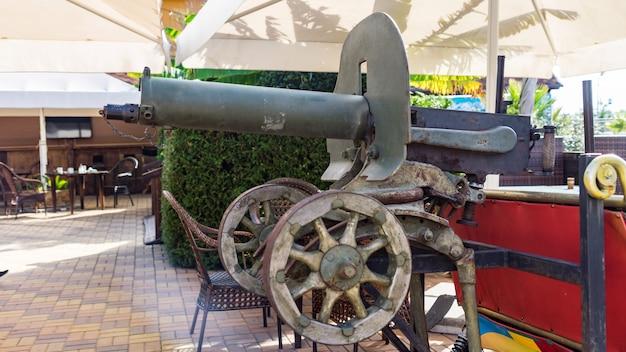 Old machine gun maxim, soviet red army weapon of world war ii, sochi.