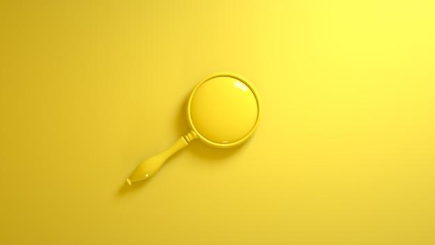 Старое увеличительное стекло на желтом. 3d иллюстрации.