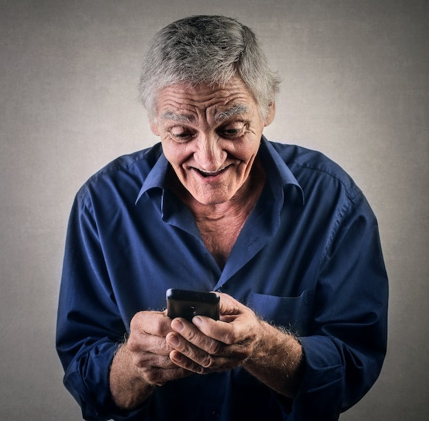 Old man and technology
