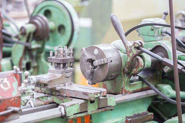 Old manual lathe machine.