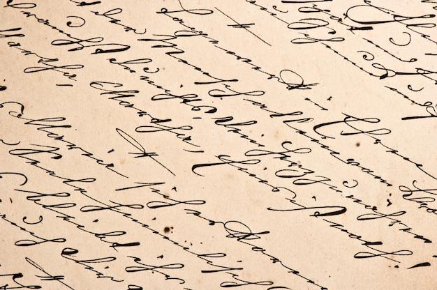 Старая рукопись со старинным почерком. шероховатый бумажный фон