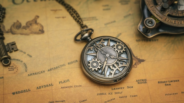 Old map with compass necklace