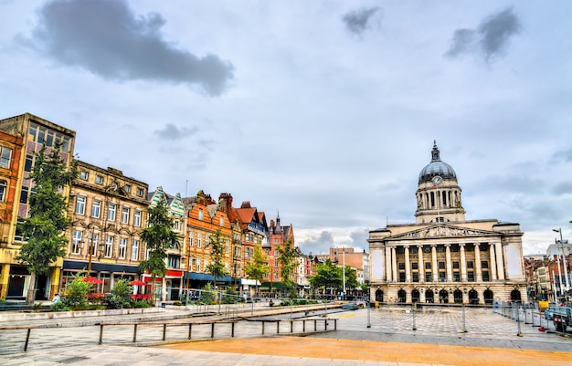 Old market square with city council house in nottingham, england