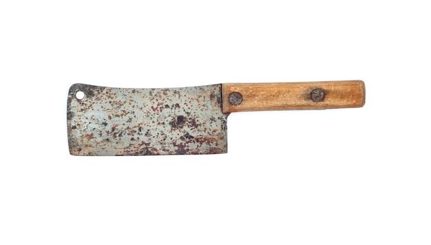 白い背景で隔離の木製ハンドルと古い肉切り包丁ナイフ