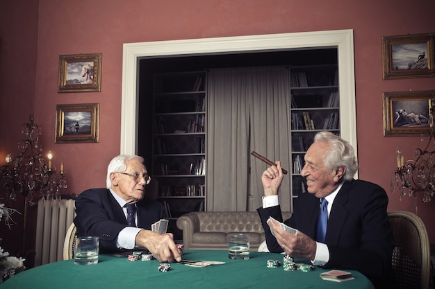 Old men playing card games
