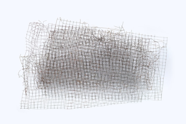 Old mesh steel texture on white background.