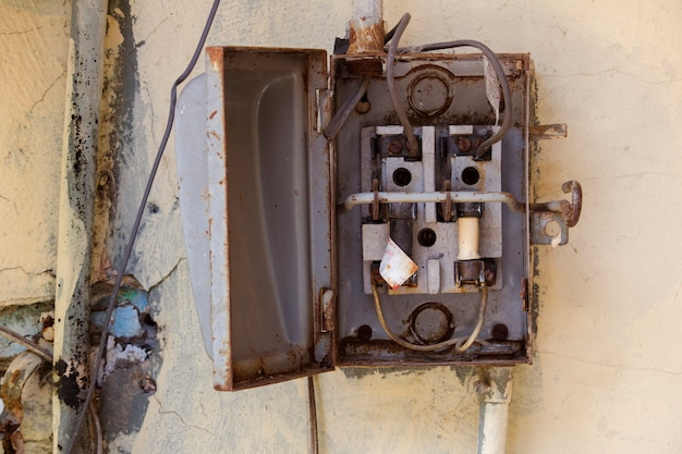 Old metal open fuse box