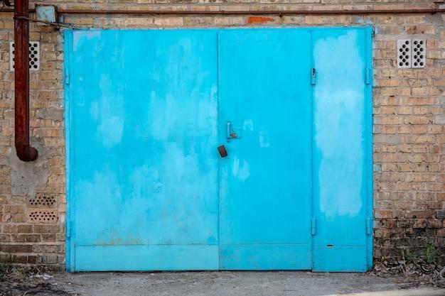 Old metal warehouse door hangar