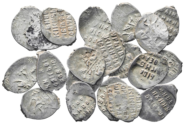 Old money of russia of the 17th century. silver coins isolated on a white background.