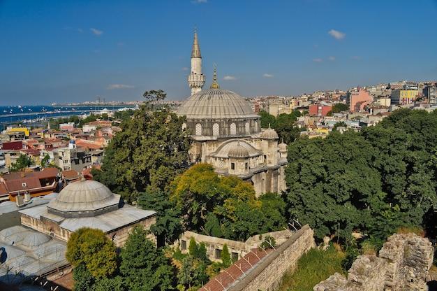 晴れた夏の日にイスタンブールの古いモスク