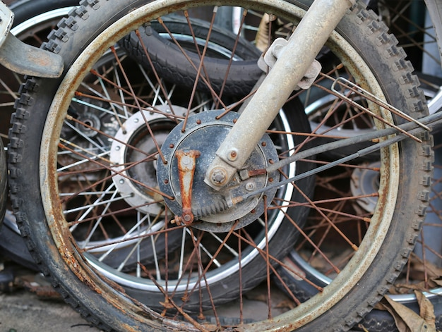 Old motorcycle wheel. side view