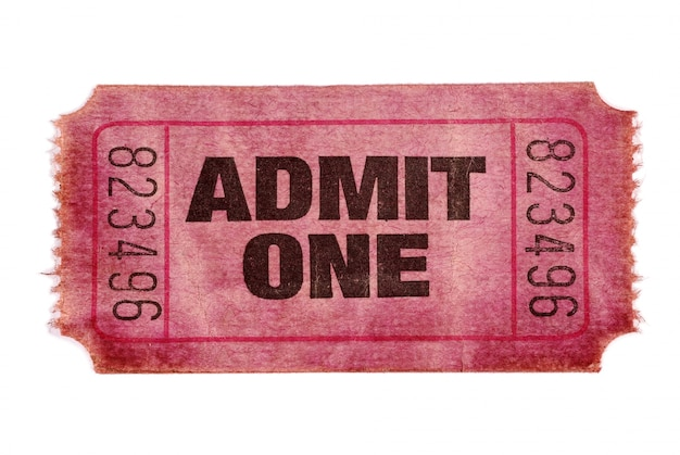 Old movie ticket, red color