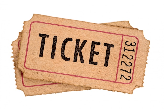 Old movie tickets isolated white background