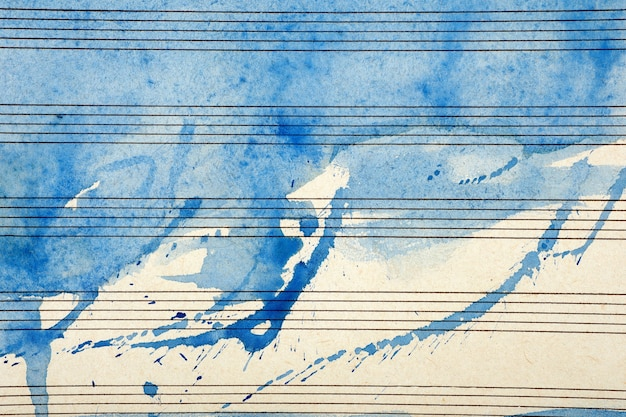 블루 수채화 물감 페인트에 오래 된 음악 시트입니다. 블루스 음악 개념. 추상 블루 수채화 배경입니다.