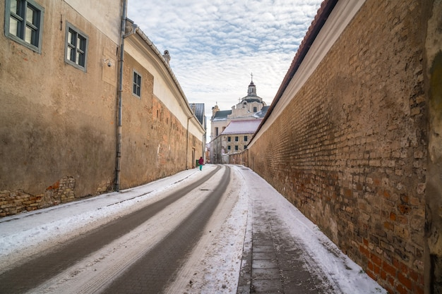 The old narrow street of vilnius. new year in lietuva. travel.