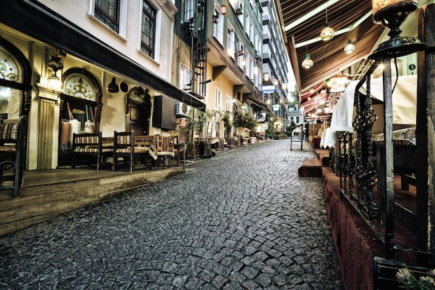 Old narrow street with pavement