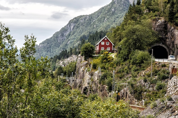 Old norwegian traditional house on the mountain. norwegian landscape