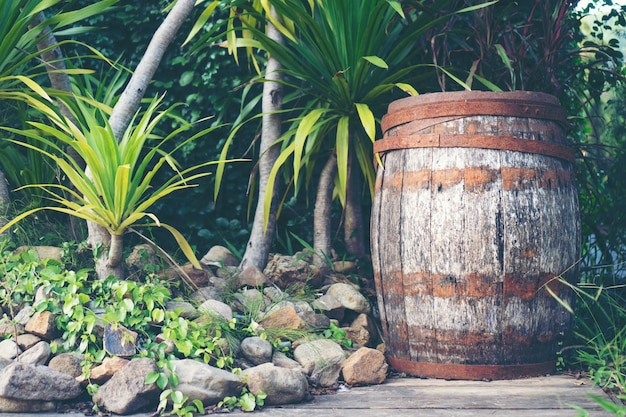 Old oak wood wine barrel