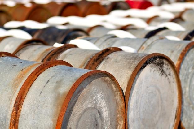 Old oil barrels