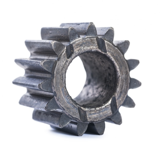 Old oiled damaged machine gear isolated