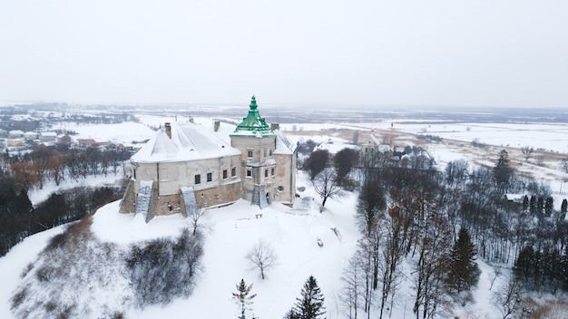 Old olesky castle in ukraine aerial view in winter with snow