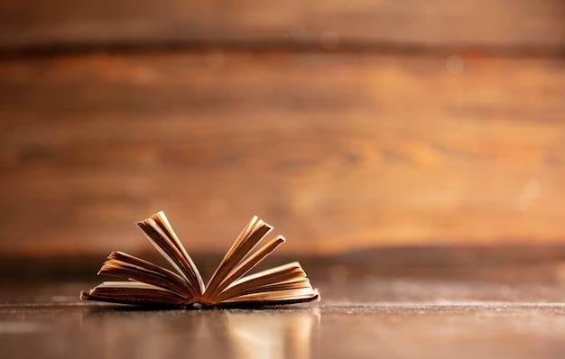 Old open book on wooden table