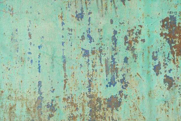 녹과 균열의 흔적이 있는 오래 된 페인트 금속 질감