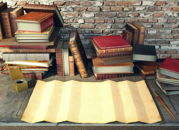 Old paper and ancient books on study table in medieval scene, 3d rendering