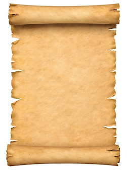 Old paper manuscript or papyrus scroll vertically oriented isolated on white background.