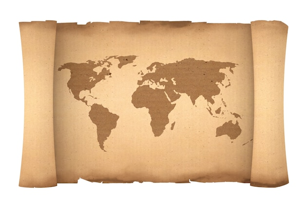 Old paper scroll parchment with world map on a white background. 3d rendering