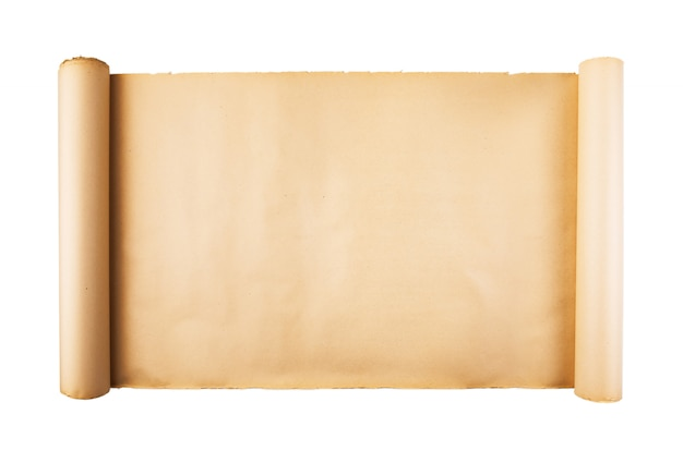 Old paper scroll on white background isolated