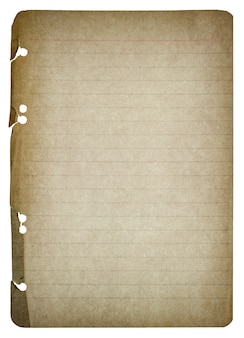 Old paper sheet isolated on white background. used paper texture. vintage style toned with vignette