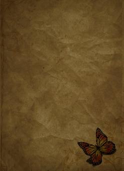 グランジ紙の上に蝶のレンダリング3d