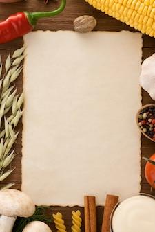食材フレームと古い紙