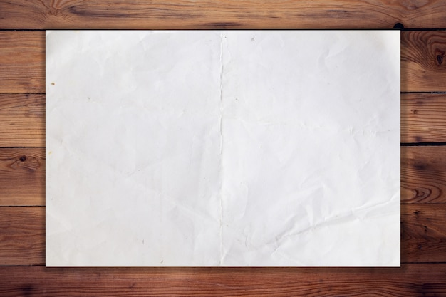 Old paper on wood horizontal background and texture