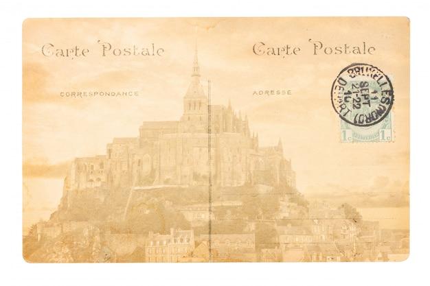 Old paris postcard with mont saint michel