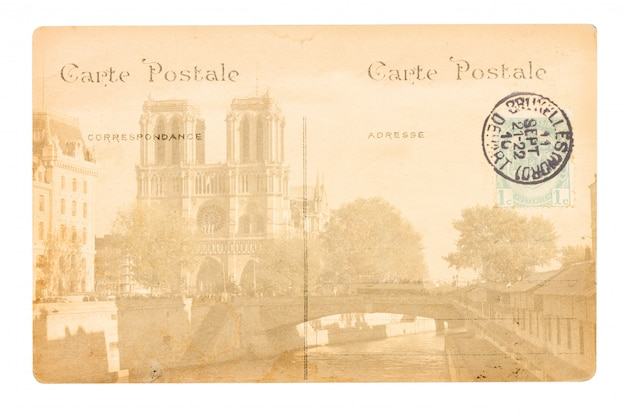 Old paris postcard with notre dame cathedral church.